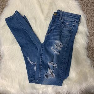 American eagle distressed hi rise jegging size 2